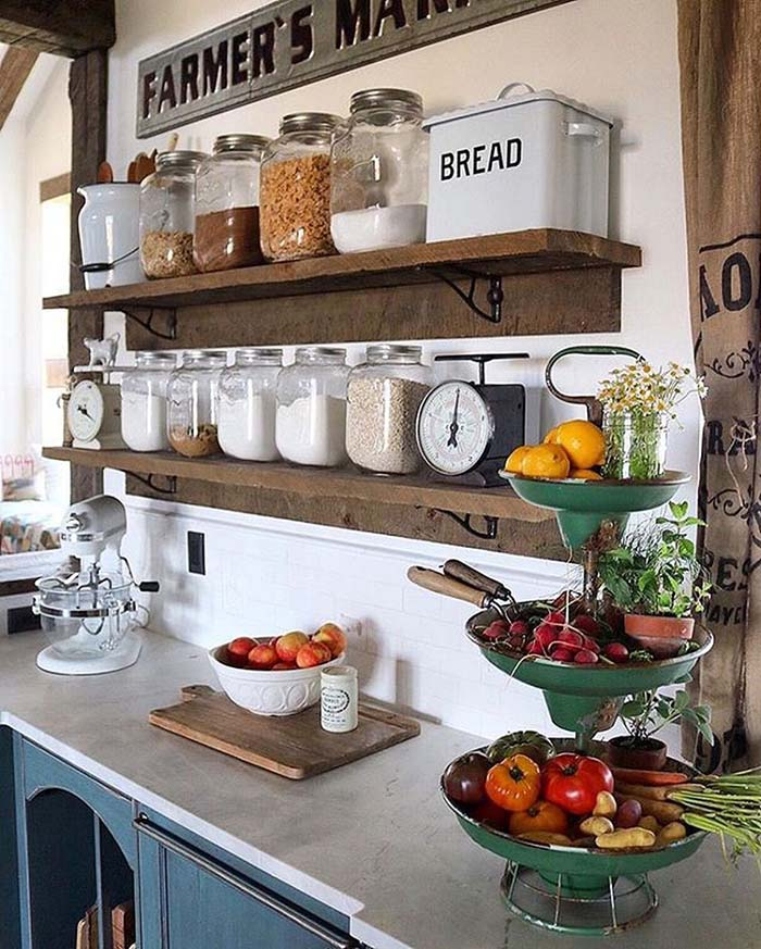 Farmhouse Kitchen Shelves