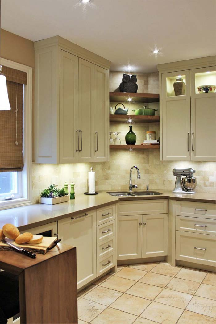 Kitchen Corner Sink With Open Shelves #cornersink #kitchen #sink #decorhomeideas