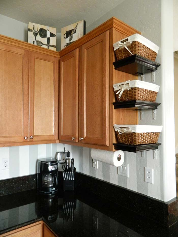 Kitchen Countertop Basket Organization