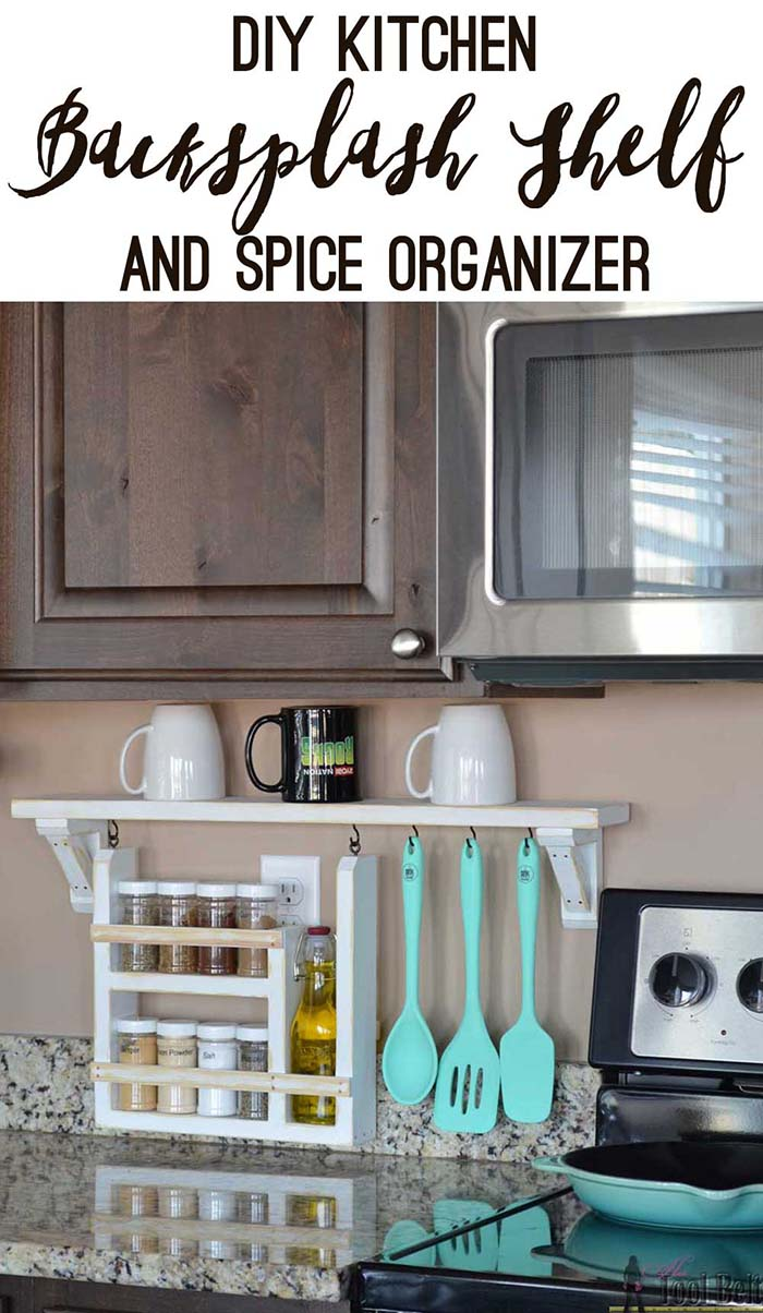 Kitchen backsplash shelf and spice organizer