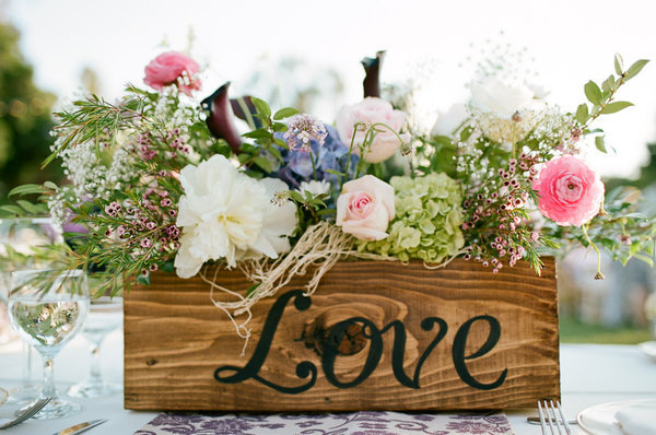 Love Wooden Box Spring Centerpiece