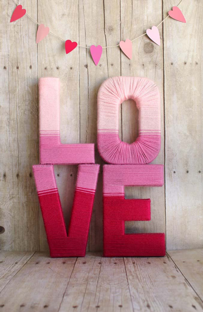 Love Yarn Letters #valentinescraft #decor #love #crafts #diy #decorhomeideas