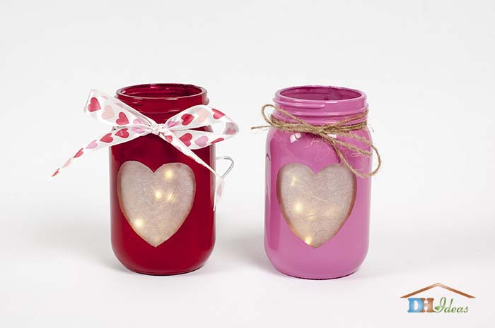 Valentine's Day DIY Mason Jar Heart Candles with LED Lights