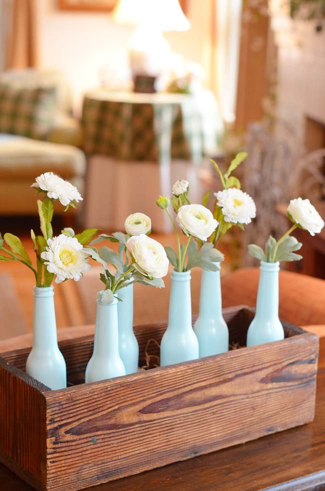 Painted Bottles Spring Centerpiece
