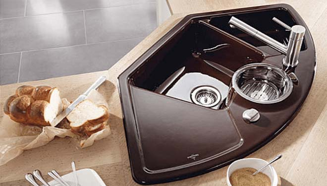 Rounded Corner Kitchen Sink #cornersink #kitchen #sink #decorhomeideas