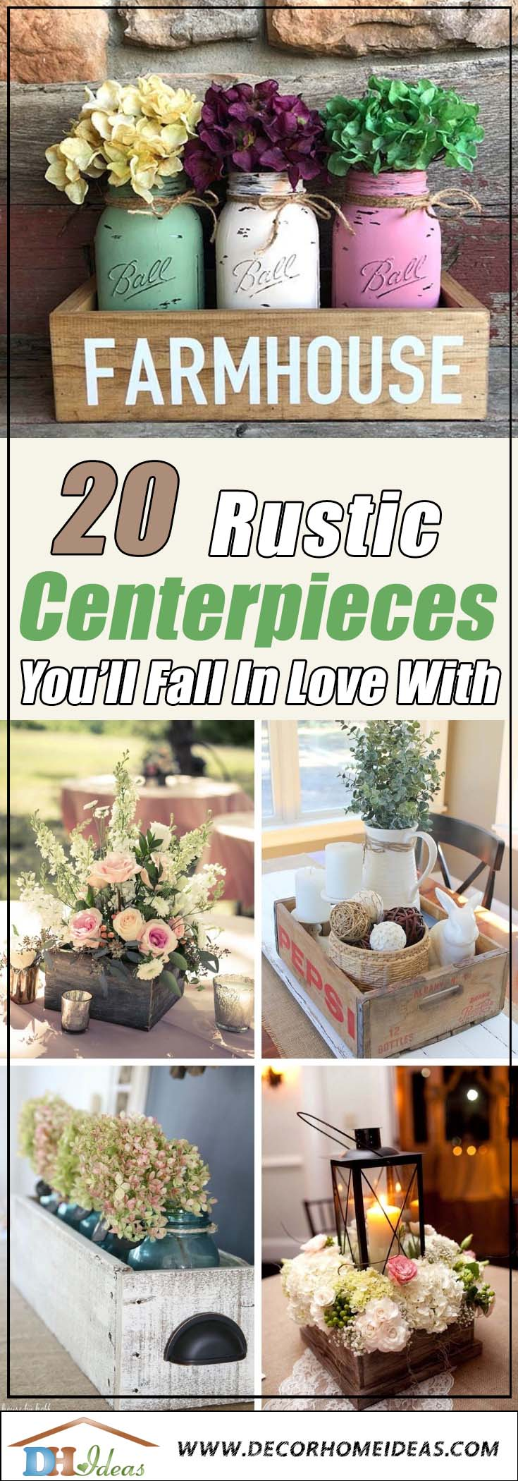 Rustic Wooden Box Centerpieces #rustic #centerpieces #woodenbox #homedecor #decorhomeideas