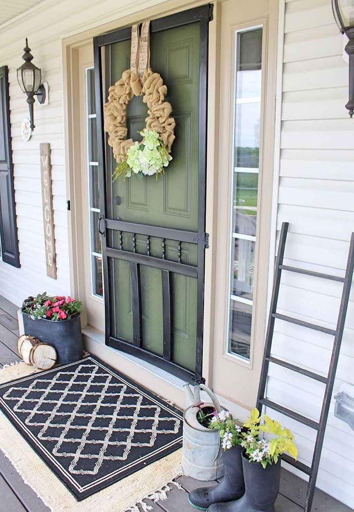 Rustic Front Door Decor #farmhouse #rustic #porch #decor #decorhomeideas