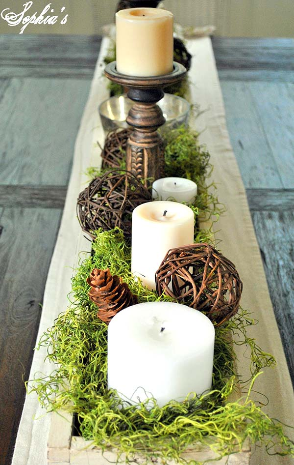 Rustic Wooden Box Candles and Greenery #rustic #centerpieces #woodenbox #homedecor #decorhomeideas