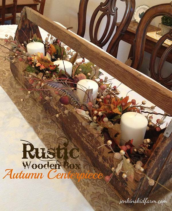 Rustic Wooden Box Fall Centerpiece #rustic #centerpieces #woodenbox #homedecor #decorhomeideas