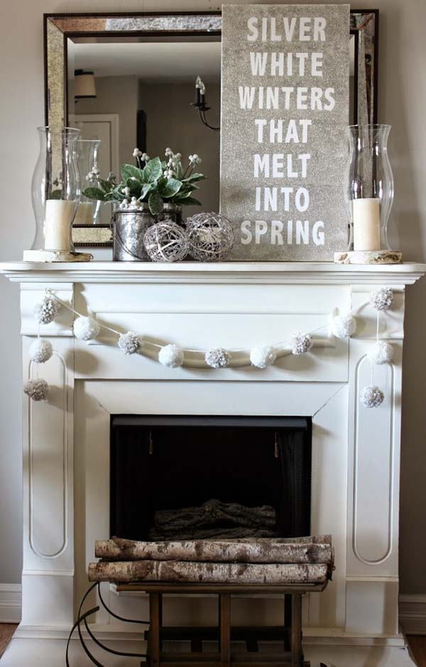 Silver White Winters Glitter Sign Mantel Decor #winterdecor #homdecor #winter #decorhomeideas