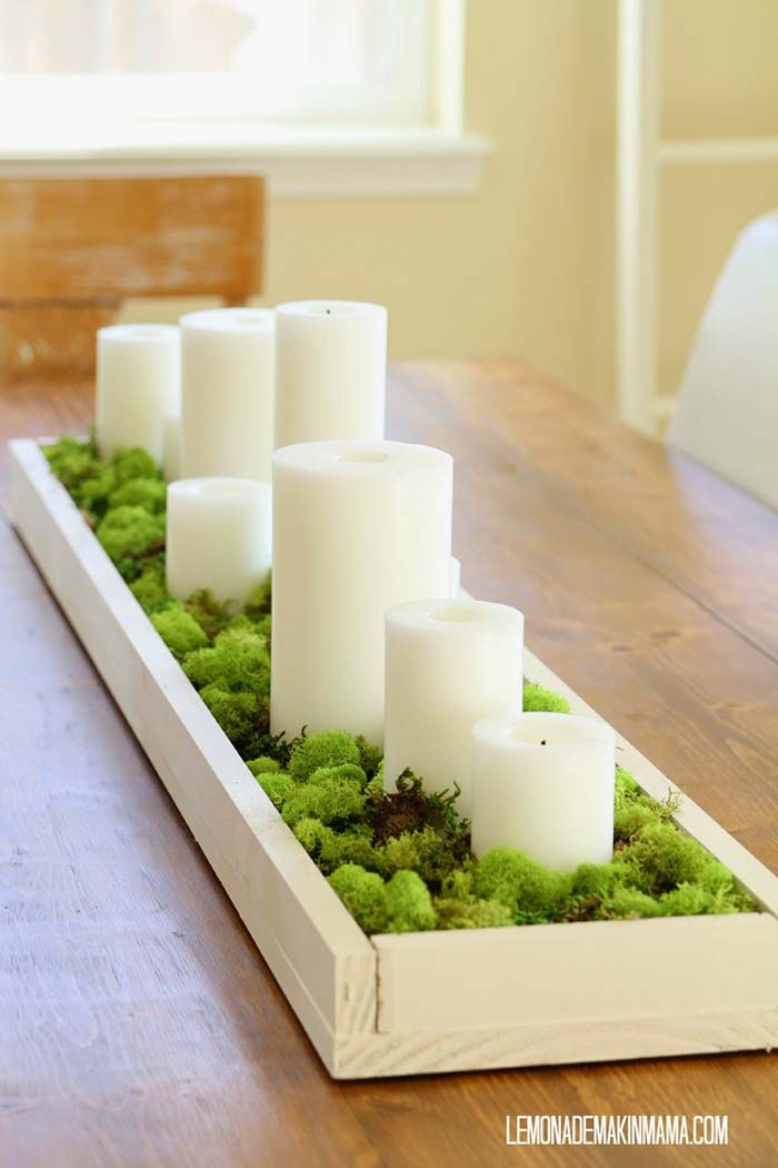 Spring Centerpiece With Candles #centerpiece #spring #Easter #decorhomeideas