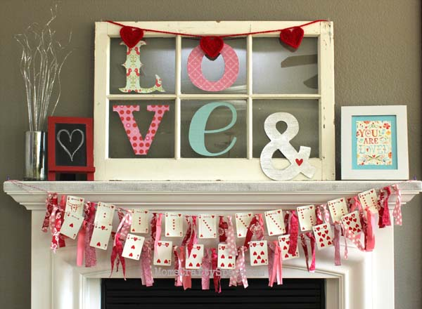 Valentines Day Heart Card Banner #valentinescraft #decor #love #crafts #diy #decorhomeideas