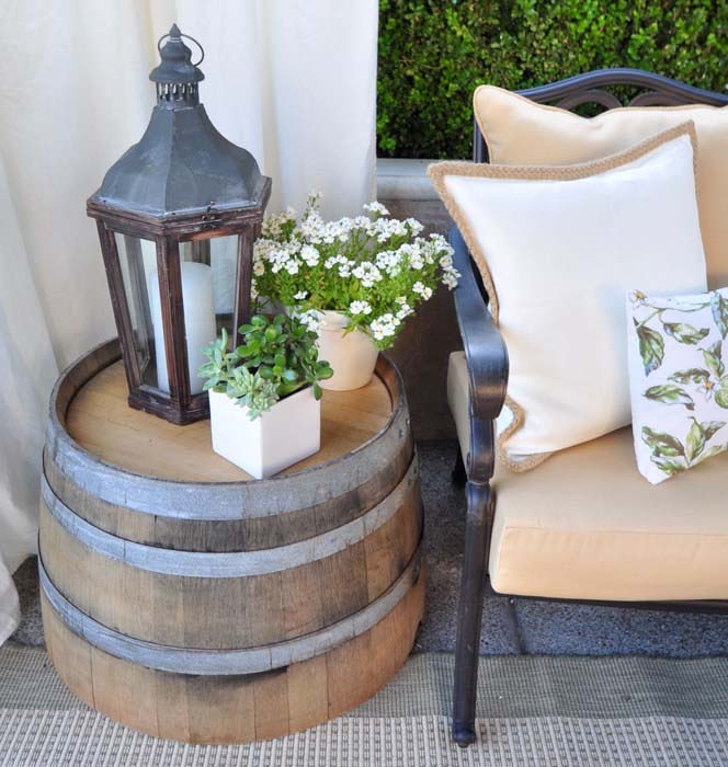 Wine Barrel Farmhouse Decor #farmhouse #rustic #porch #decor #decorhomeideas