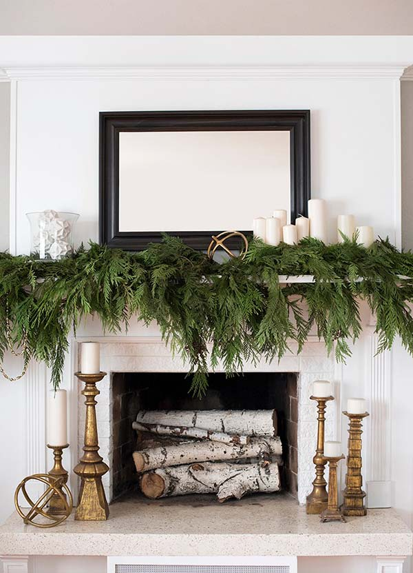 Winter Decor Mantel #winterdecor #homdecor #winter #decorhomeideas