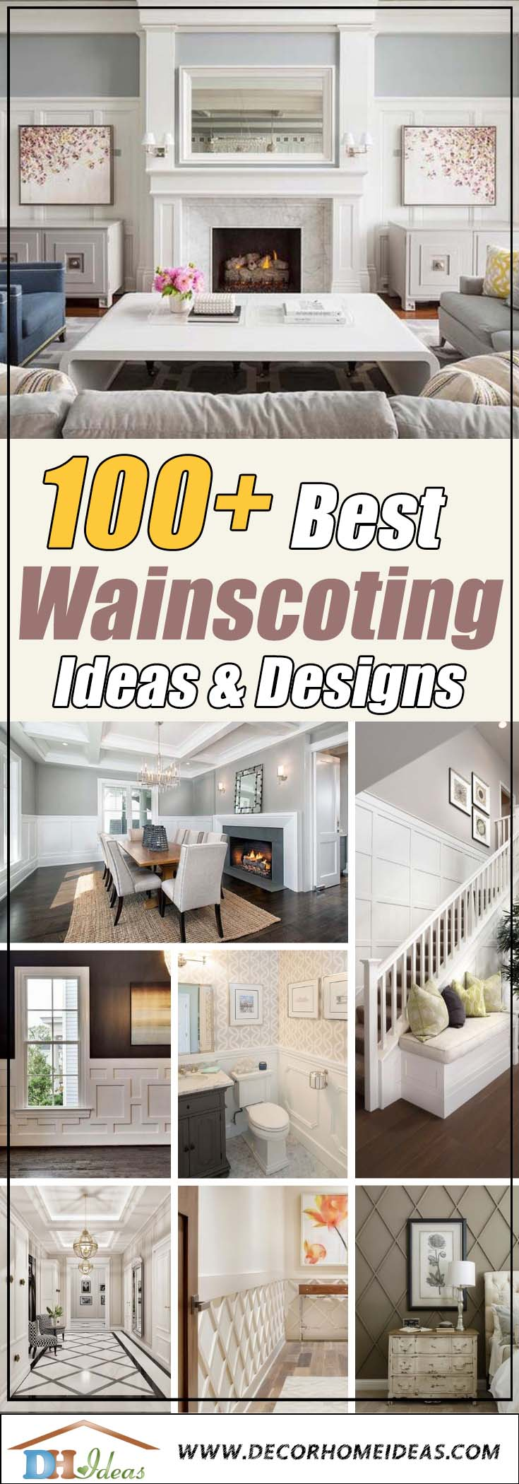 100 Best Wainscoting Ideas - Bathroom, Dining Room, Living Room, Staircases, Bedroom. Wainscoting and paneling design, photos and DIY projects.