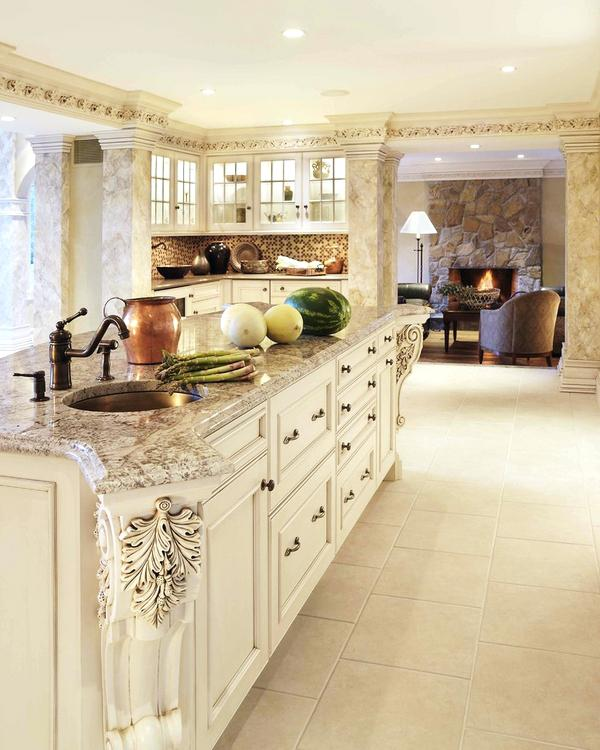 Antique White Kitchen Cabinets With Granite Countertop