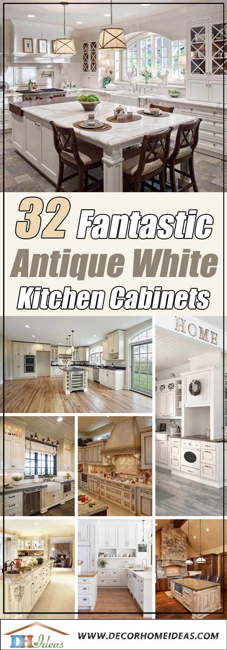 Antique White Kitchen Cabinets - Best colors, designs and ideas. #kitchen #cabinets #decorhomeideas