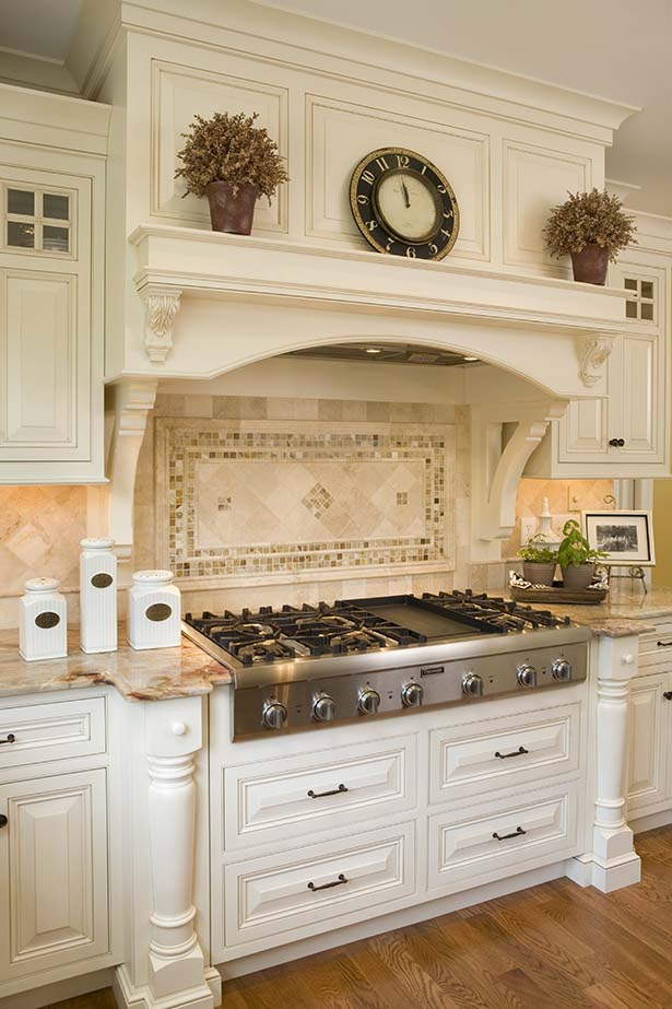 Antique White Kitchen With Art Stove