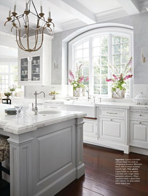 Antique White With Gray Color Kitchen Combo