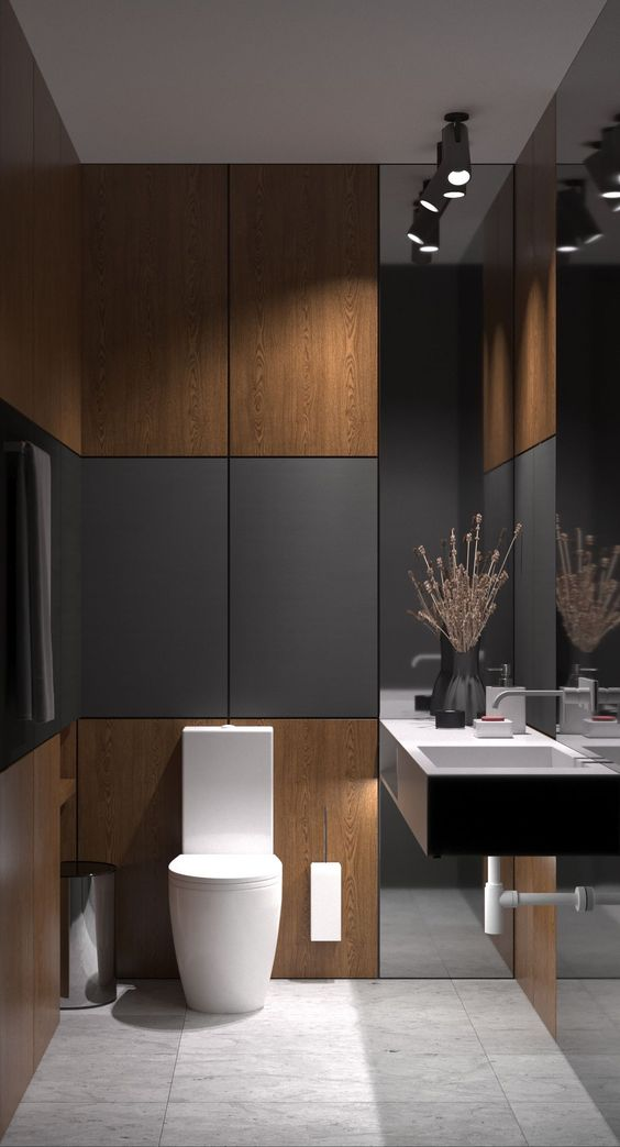 Dark bathroom with dimmed lights