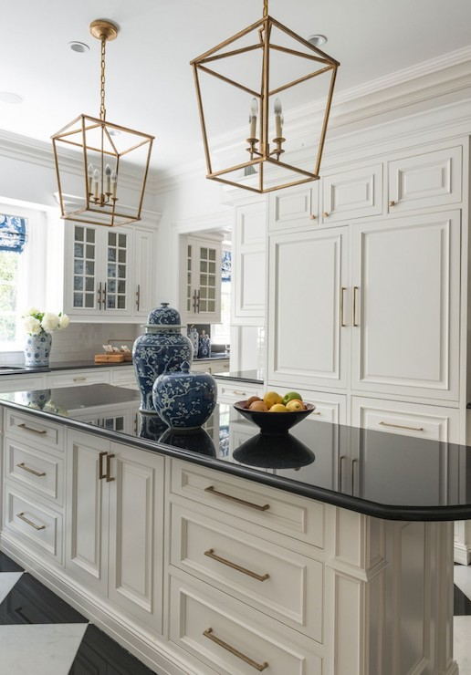 Copper Decorated Antique White Kitchen Cabinets