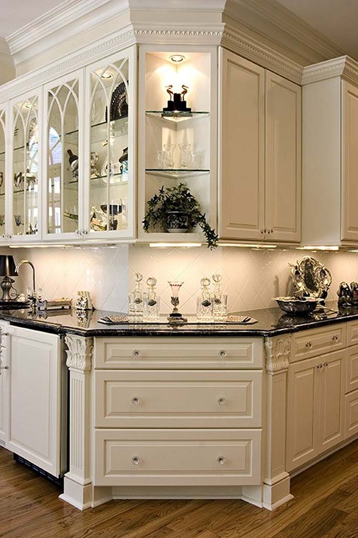 Corner Kitchen Cabinets In Antique White