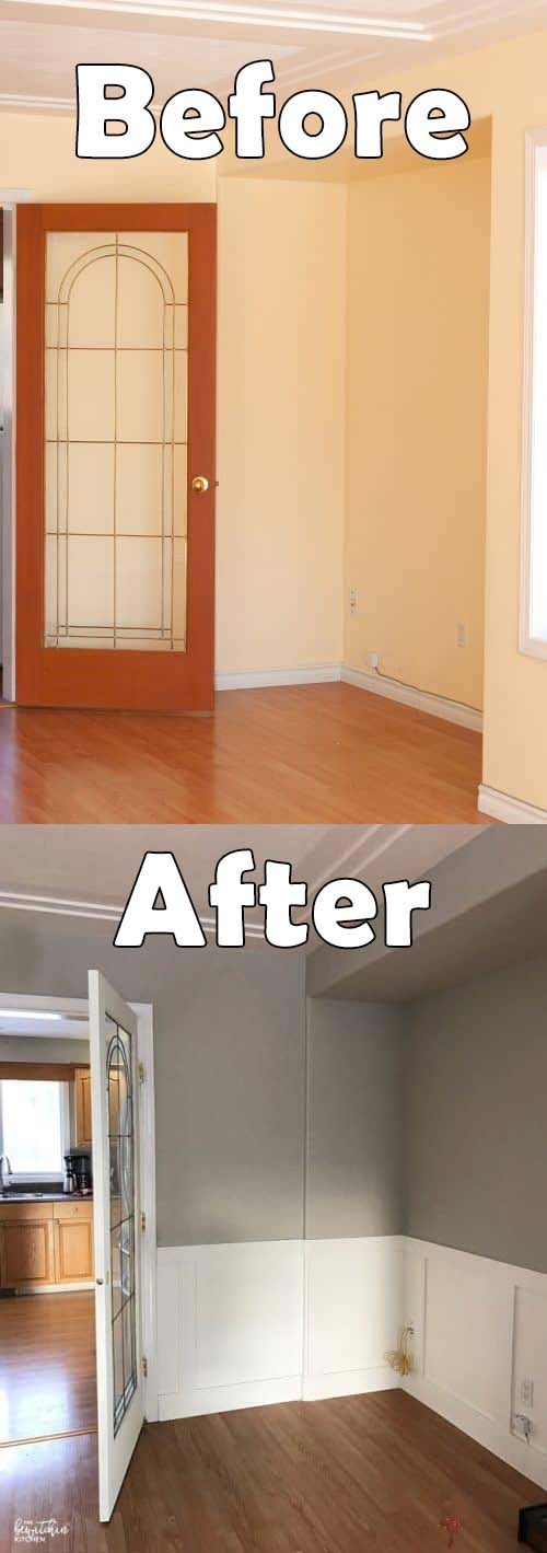DIY Wainscoting Before And After