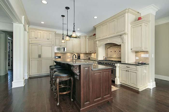 Two Tier Kitchen Island With Antique White Cabinets Design