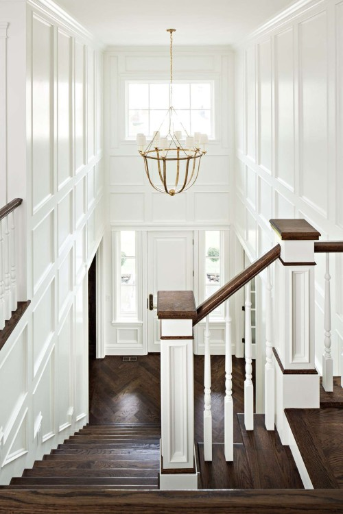 Dark Stairs All Walls Wainscoting
