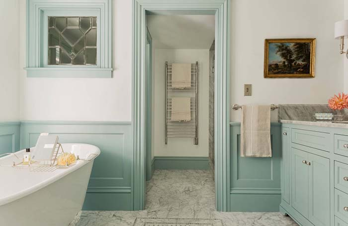 Fabulous bathroom design with wainscoting wall