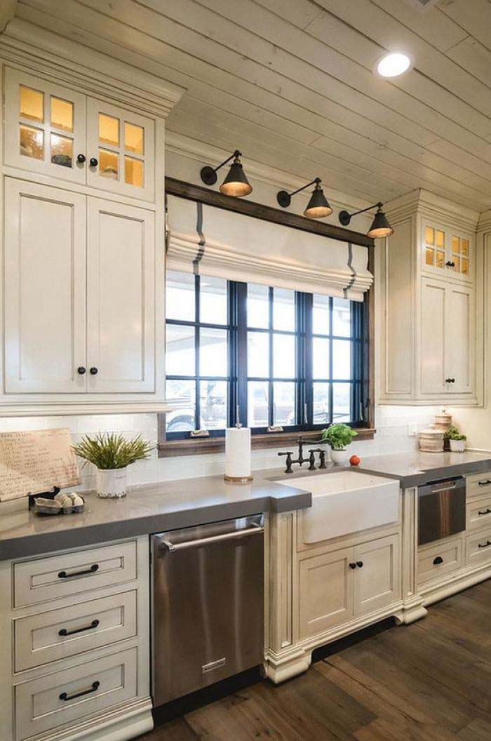 Farmhouse Kitchen Antique White Cabinets