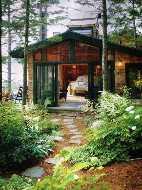 Forest Wood Cabin #cabin #loghouse #tinyhouse  #decorhomeideas