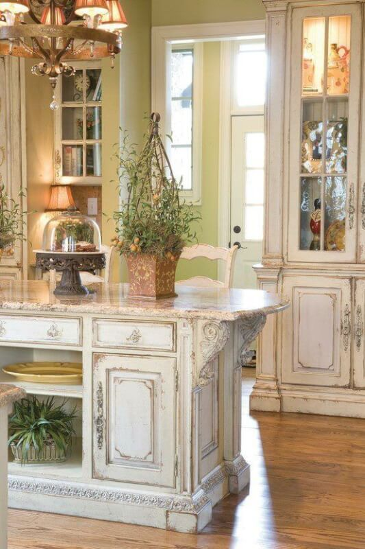 French Country Antique White Kitchen Cabinets
