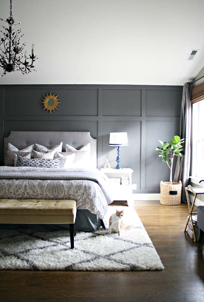 Gray Wainscoting For Bedroom
