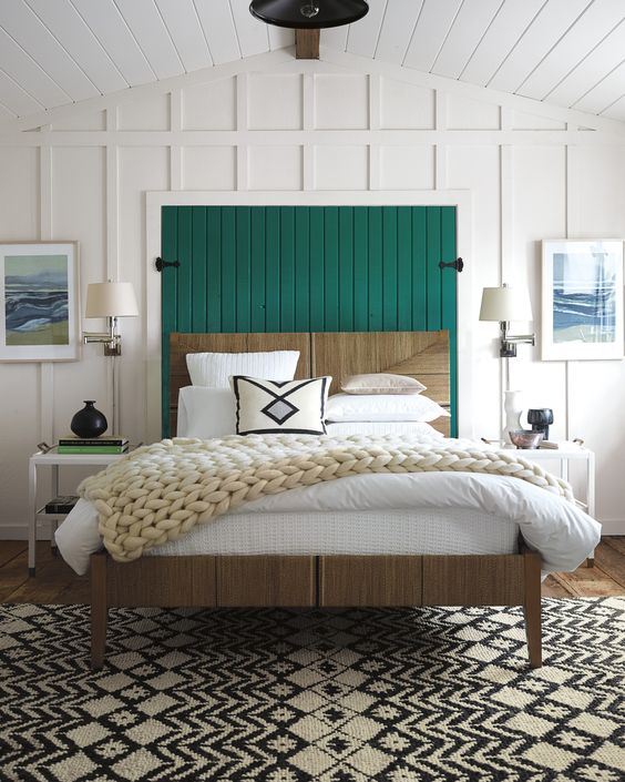Green Accent Master Bedroom Wainscoting Wall