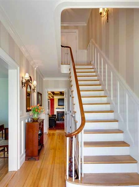 Light Staircase With Wainscoting Wall