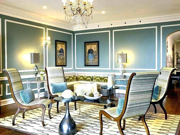 Living Room With Blue Wainscoting