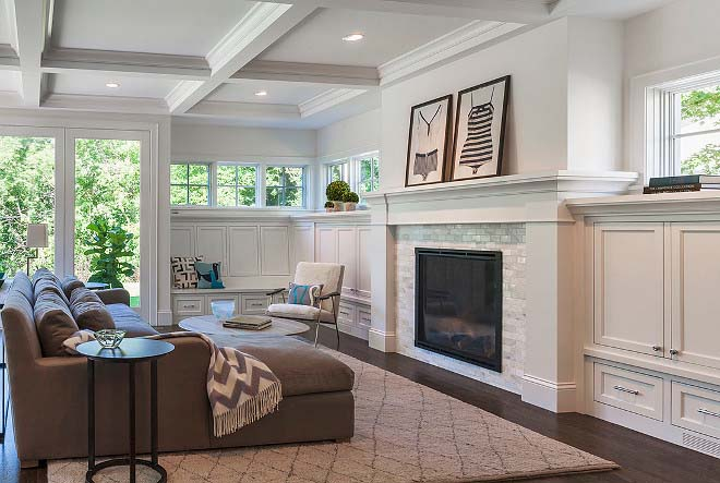 Living Room With Fireplace and Wainscoting