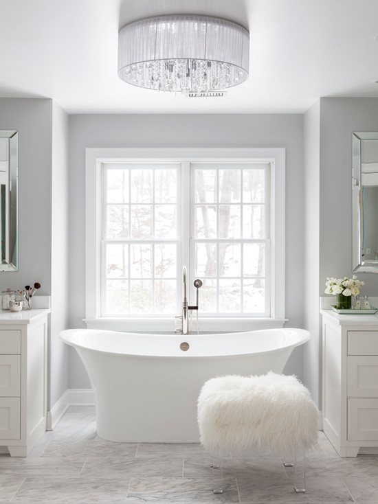 Luxury Bathroom With Fluffy Chair