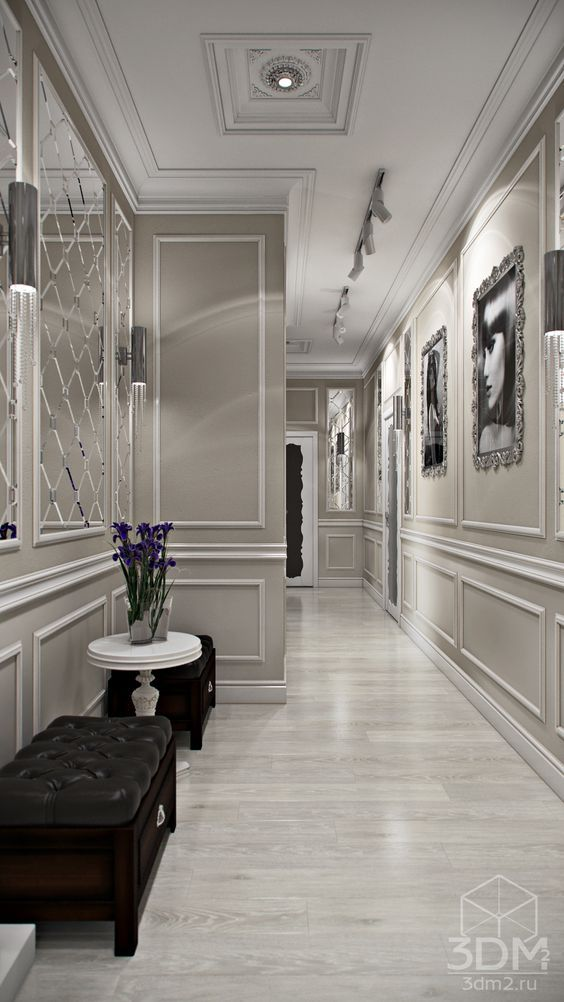 Luxury Hallway With Wainscoting