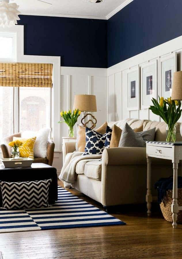 Naval Painted Living Room With Wainscoting