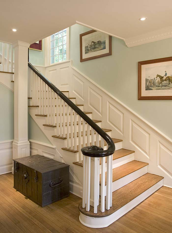 Pastel Green Wall Staircase With Wainscoting