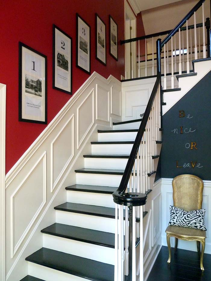 Red Wall Wainscoting Staircase