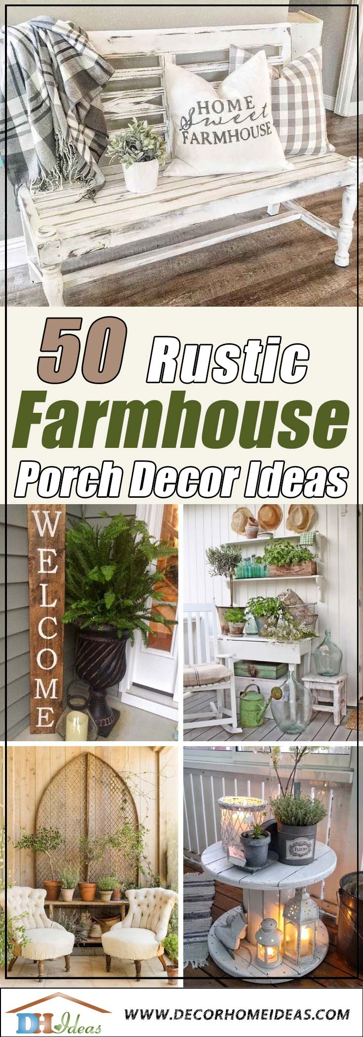 Rustic Farmhouse Front Porch Decor Ideas #farmhouse #rustic #porch #decor #decorhomeideas