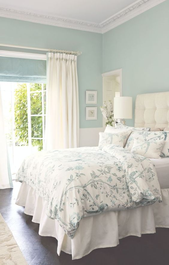 Sea Blue Bedroom Color #paintcolor #relax #homedecor #calming color #decorhomeideas