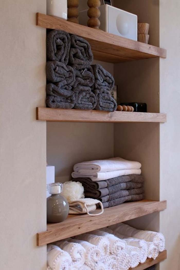 Bathroom open shelves
