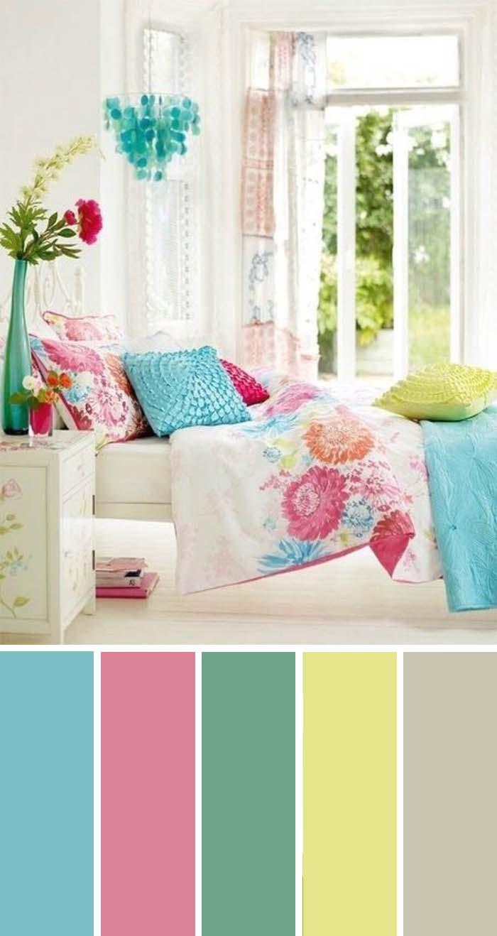 Aqua Fushcia Lime Bedroom Color Scheme SW Color Names Included #bedroom #color #scheme #decorhomeideas #colorchart