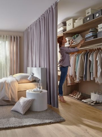 Bedroom Curtain Closet Door Idea #closet #curtain #homedecor #decorhomeideas