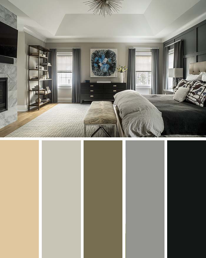 Black and Beige Bedroom Color Scheme SW Color Names Included #bedroom #color #scheme #decorhomeideas #colorchart