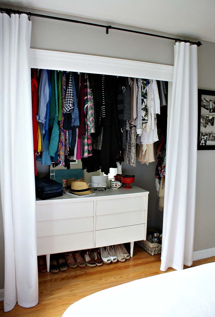 Curtain Closet Door for small Closet #closet #curtain #homedecor #decorhomeideas